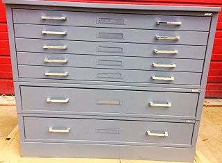 Mayline Rare 7 Drawer Steel Map File 40w X 28h X 28d W/base Watch Video Freeship
