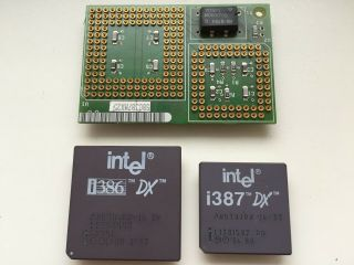 Intel A80386dx - 16,  387 Fpu,  On Very Rare Adapter Sbc387mx25,  Vintage Cpu,  Gold