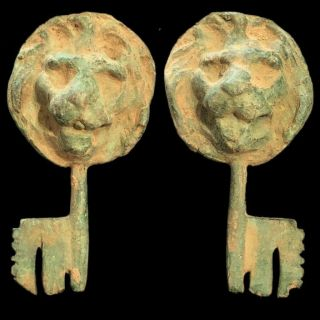 Rare Ancient Roman Bronze Period Key With Lion Bust - 200 - 400 Ad (4)