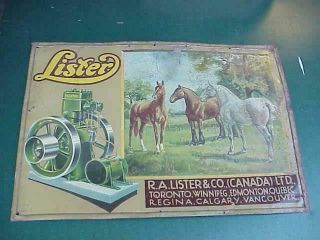 1900 Lister Hit Miss Engines Tin Litho Illus Sign Horses Canada Rare Uk Green