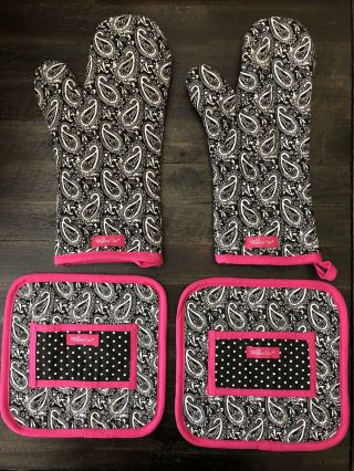 Pampered Chef Rare Retired Whip Cancer Pot Holders & Oven Mitts