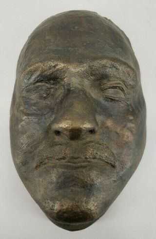 Unusual Antique Heavy Bronze Cast Death Mask Cir.  Early 1800
