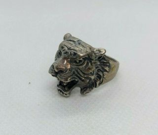 Extremely Rare Ancient Bronze Ring Viking Tiger Head Artifact Bronze Authentic