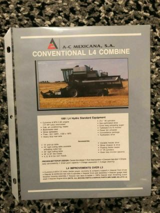 Allis Chalmers Gleaner Combine L4 Dealer Sales Brochure Rare