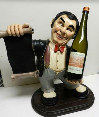 "Signed Peter Mook Rare Ceramic Figure 18 "" Sommelier Restaurant Server"