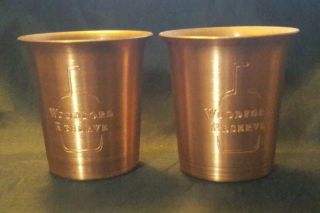 2 Rare Solid Copper Woodford Reserve Distillery Tasting Shot Glasses (ab3)
