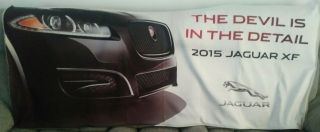 "Rare Advertising Banner 33x89 2015 Jaguar Xf "" The Devil Is In The Detail "" Dealer"