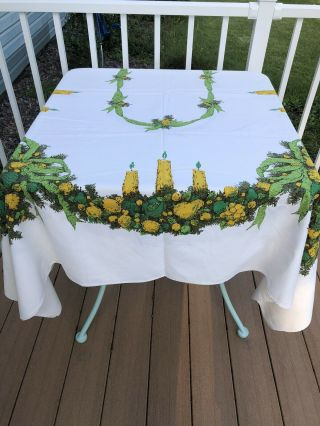 """Vintage 50s Christmas Rare Colors Tablecloth Fruit Swags&candles 86""""x 60 """""""