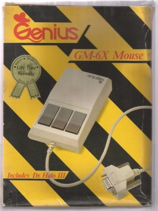Rare Vintage Genius Computer Mouse Gm - 6x 3 Button Includes Dr.  Halo Iii