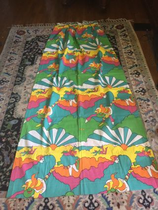 Huge Vintage Peter Max Fabric Curtain Panel 40 X 80 Inches Rare 1960's