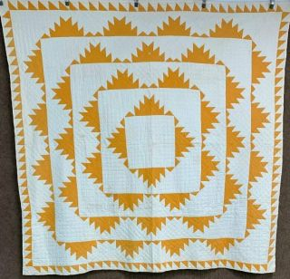 Better In Cheddar Pa C 1900s Delectable Mountains Quilt Vintage Rare