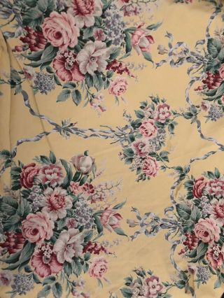 "Ralph Lauren "" Evelyn "" Rare Yellow Floral Chintz Fabric - 9 Yards"