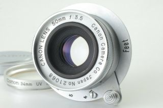 [rare Near Mint] Canon 50mm F3.  5 L39 Ltm Lens W/ Filter And Cap From Japan