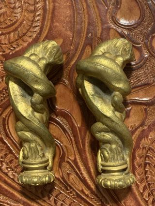 Rare Antique French Bronze Gold Guild Lizard Fighting Lamp Finials Pair