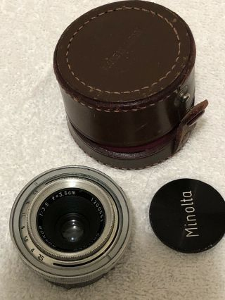 Rare Chiyoko Rokkor 3.  5cm (35mm) F/3.  5 Lens For Minolta A,  With Case