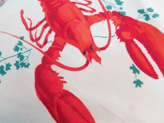 Big Rare Bright Red Lobsters Vintage Wilendure Tablecloth Clams Prawns Crayfish