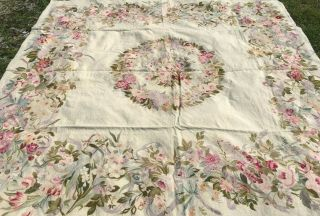 Vintage Wool Hooked Rug Large With Floral Rare 12