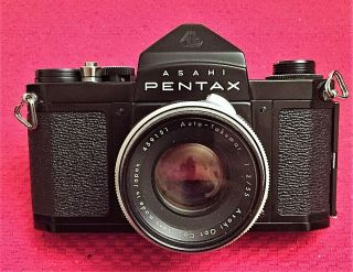 Very Rare Black Asahi Pentax S2 Camera W/f/2 55mm Auto - Takumar Lens