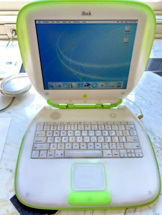 Vintage Apple Mac Ibook G3 Key Lime Green 466mhz W/ Manuals - Rare