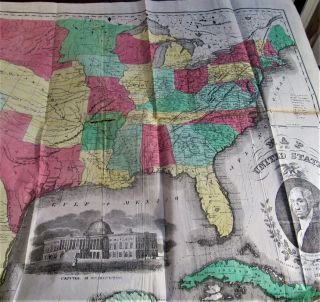 """Gazetteer Of The Us Of America/1854/rare 1st Ed.  /hand Colored Map Of America - 25 """""""