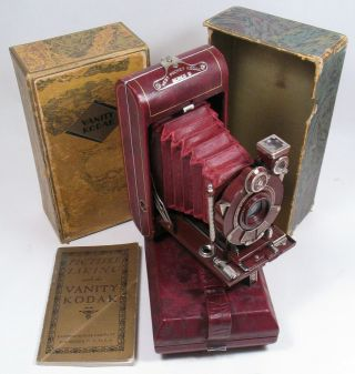 Rare Red Kodak Vanity W/red Bellows,  Boxed.  Walter Dorwin Teague Art Deco.