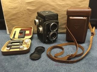 Rolleicord Tlr Camera Large Format 120 Germany With Rare 35mm Adaptor Rolleikin