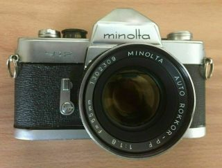 Rare Minolta Sr - 2 Camera W/55/1.  8 Lens,  Cap,  Case & Manuals -