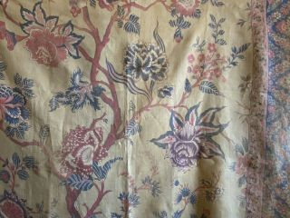 Rare 19th Century French Printed Linen Exotic Floral Fabric