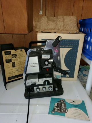 Bell & Howell 8mm Model 465 Projector Dual   Lectric W/ Rare Roto Remote Box Man