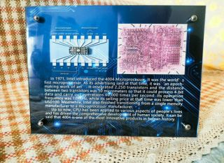Vintage Rare Intel P4004 Cpu Crystal Package Silicon Die,  Exhibition Frame