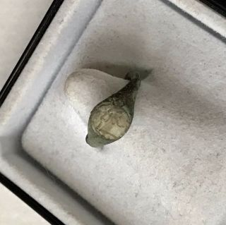 Rare Ancient Roman Baby Bronze Seal Ring With Glass Intaglio Of A God