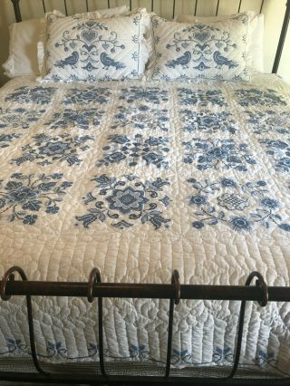 "Rare Counted Cross Stitch 86 X 96 "" Quilt Finished All Hand Done Shams Blue White"