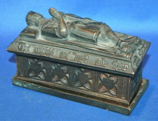 A Rare Antique Bronze Gothic Medieval Knight Tomb Casket,  Match Holder,  Go - To - Bed