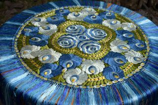 Rare Hungarian Antique Hand Embroidered Silk Matyo Round Tablecloth
