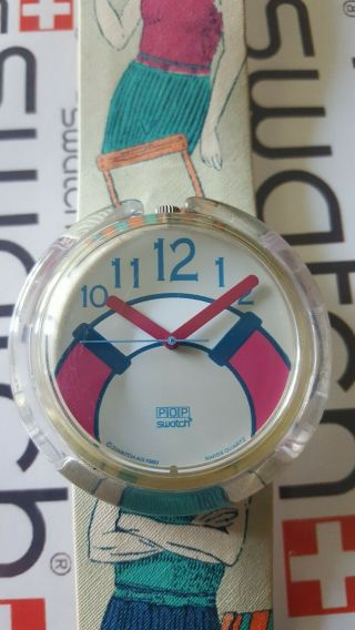 Swatch The Life Saver Pwk180 1993 Pop 39mm Textile Over Leather