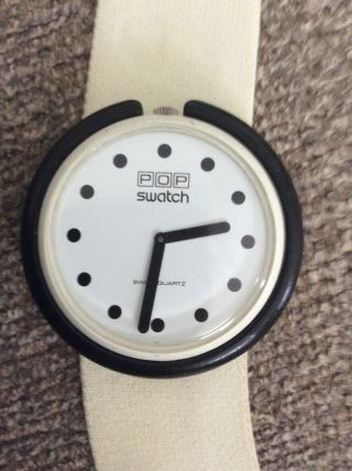 "Swatch ""snowflake"" Pwbw101 1987 Pop 39mm Textile White Band"