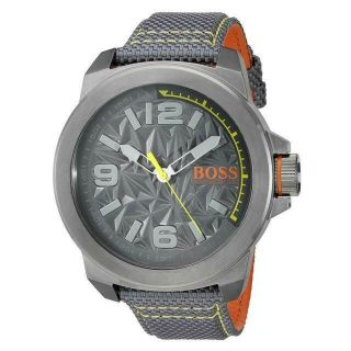 Hugo Boss 1513344 York Gray With Orange Textile - Leather Men's Watch