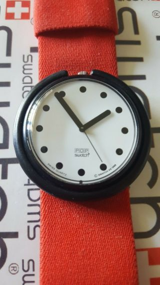 Swatch Basic Black Pwbb120 1990 Pop 39mm Textile Red Band
