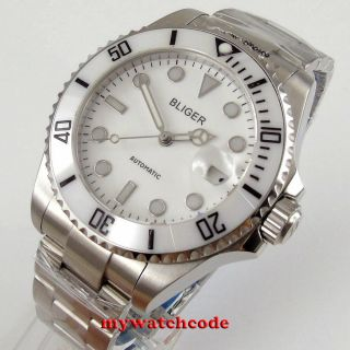 43mm Bliger White Dial Ceramic Bezel 24 Jewels Japan Nh35 Automatic Mens Watch