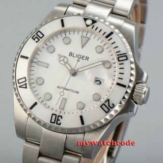 40mm Bliger White Dial Ceramic Bezel 24 Jewels Japan Nh35 Automatic Mens Watch