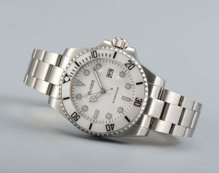 43mm Bliger White Dial Ceramic Bezel Date Sapphire Glass Automatic Mens Watch