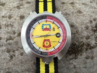 Sorna Bullhead Nos - Style Automatic Watch Yellow Version Unworn Textile Strap