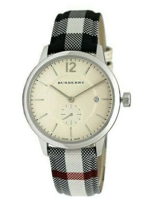 Burberry Bu10002 Horseferry Check Fabric - Coated Leather Unisex Wrist Watch
