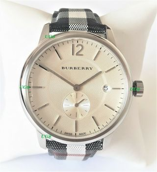Burberry Watch Womens White Dial Cloth Stylish Band Silver Case Bu10002