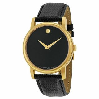 """"""" Movado """" Museum 2100005 Gold Classic Black Dial Leather Wrist Watch Men"""