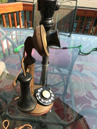Antique Nov 1892 Patented Rotary Dial Candlestick Phone Bronze Bell Tel