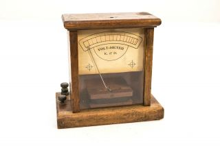 Early K.  & D.  Volt - Meter With Hand Drawn Scale