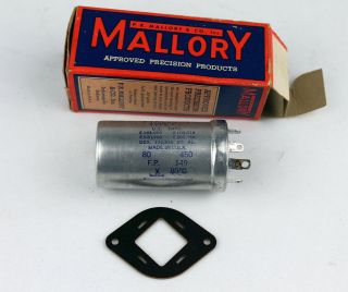 Nos Mallory Fp - 149 80uf/450vdc Aluminum Electrolytic Capacitor Tests Good