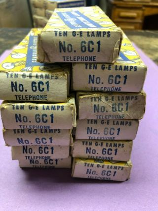 100 General Electric 6c1 Miniature Lamps (for Old Pop Up Button Telephones?)