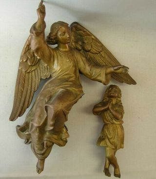 Antique Guardian Angel And Child From Convent (imitation Bronze)
